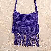Jute shoulder bag, 'Purple Passion' - Deep Purple Hand Knit Jute Shoulder Bag from Peru