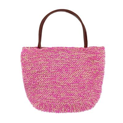 Fuchsia and Ecru Hand Knit Jute Shoulder Tote Bag