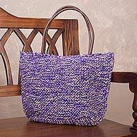 Jute shoulder bag, 'Sweet Purple' - Hand Knit Jute Shoulder Bag in Purple and Ecru