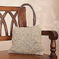 Jute shoulder bag, 'Essential Beauty' - Jute Shoulder Bag in Ecru and Ivory from Andean Artisan
