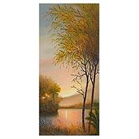 'Amazon Sunset' - Sunset Landscape Painting of the Amazon Valley from Peru