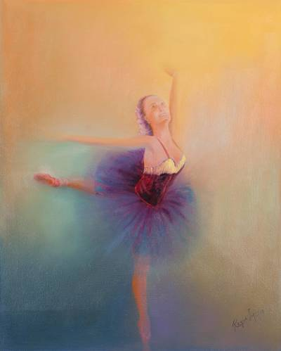 'Celestial Dance' - Classical Ballet Dancer Original Oil Painting
