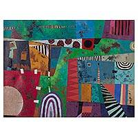'Introspection' - Multicolored Signed Cubist Abstract Painting from Peru