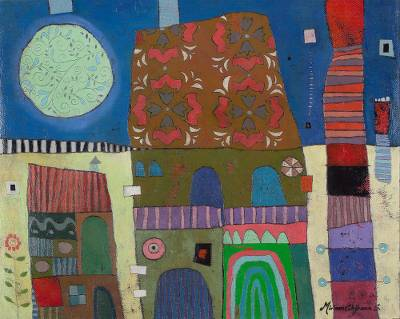 'Full Moon' - Signed Cubist Cityscape Painting from Peru