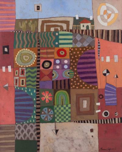 'Aerial Country' - Signed Colorful Cubist Cityscape Painting from Peru