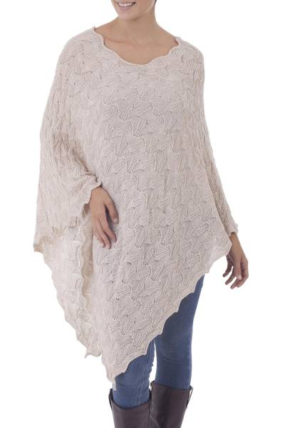 Ivory 100% Baby Alpaca Wool Long Women