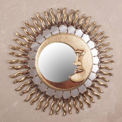 Wood wall mirror, 'Cuzco Eclipse' - Sun and Moon Themed Bronze Leaf Wood Wall Mirror