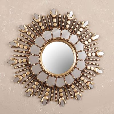 Wood wall mirror, Cuzco Radiance