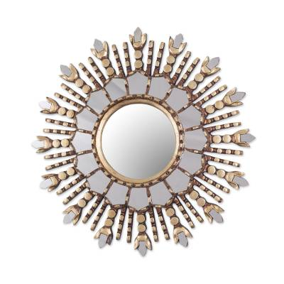 Wood wall mirror, 'Cuzco Radiance' - Round Sun-Like Wall Mirror Hand Crafted in Peru