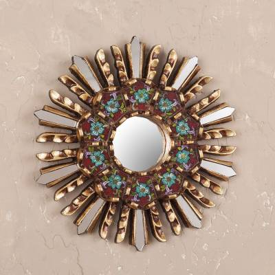 Wood and reverse painted glass wall mirror, 'Cuzco Garden' - Small Round Reverse Painted Glass and Wood Mirror
