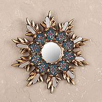 Wood and reverse painted glass wall mirror, 'Cuzco Snowflake' - Colonial Style Reverse Painted Glass Wall Mirror