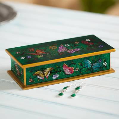 Reverse painted glass decorative box, 'Butterfly Jubilee in Emerald' - Reverse Painted Glass Butterfly Decorative Box in Emerald