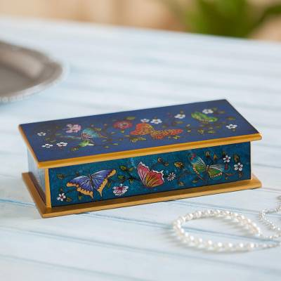 Reverse painted glass decorative box, Butterfly Jubilee in Cyan