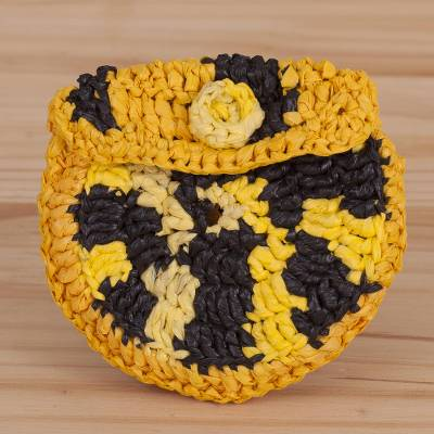 Recycled plastic coin purse, 'Bright Day' - Crocheted Yellow and Black Recycled Plastic Coin Purse