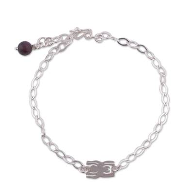 Natural Garnet and Silver Nazca Spider Anklet from Peru