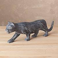 Serpentine sculpture, 'Great Puma' - Handmade Serpentine Puma Sculpture from Peru