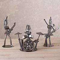 Auto part sculptures, 'Rock Band' (set of 3) - Three Recycled Auto Part Sculpture of a Rock Band from Peru