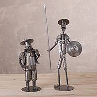 Auto part sculpture, 'Quixote and Panza' (pair) - Two Recycled Auto Part Don Quixote Sculptures from Peru