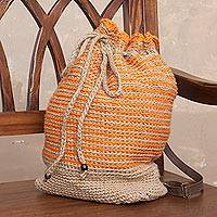 Jute backpack, 'Sunrise Stripes' - Adjustable Striped Jute Backpack from Peru