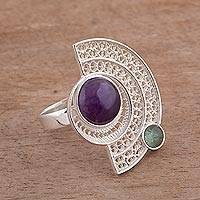 Amethyst and fluorite filigree cocktail ring, 'Stellar Harmony' - Amethyst and Fluorite Filigree Cocktail Ring from Peru