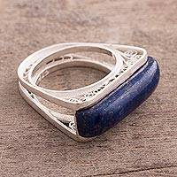 Lapis lazuli filigree cocktail ring, 'Royal Pedestal' - Lapis Lazuli and Silver Filigree Cocktail Ring from Peru