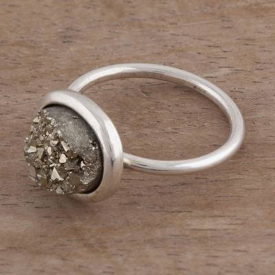 Oval Natural Pyrite and Silver Cocktail Ring from Peru