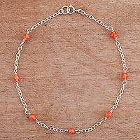 Quartz anklet, 'Leisurely Walk' - Orange Quartz and Sterling Silver Anklet from Peru