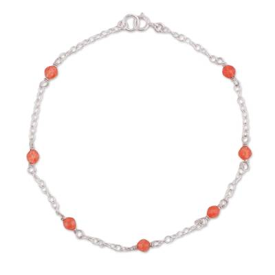 Orange Quartz and Sterling Silver Anklet from Peru