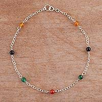 Agate anklet, 'Leisurely Walk' - Multicolored Agate and Sterling Silver Anklet from Peru
