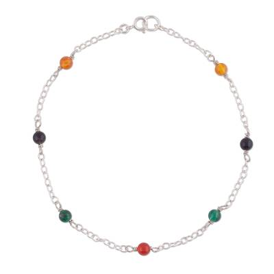 Multicolored Agate and Sterling Silver Anklet from Peru