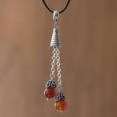 Agate pendant necklace, 'Floral Pendulums' - Agate and Silver Pendant Necklace on Cotton Cord from Peru
