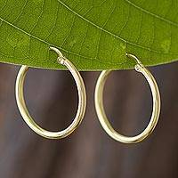 Gold plated sterling silver hoop earrings, 'Eternal Gleam' - 18k Gold Plated Sterling Silver Hoop Earrings from Peru
