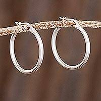 Sterling silver hoop earrings, 'Eternal Gleam' - High-Polish 925 Sterling Silver Hoop Earrings from Peru