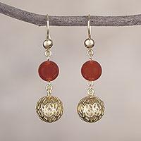 Gold plated agate dangle earrings,