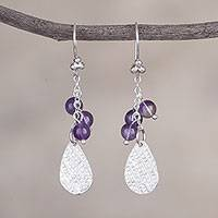 Amethyst dangle earrings, 'Glimmering Drops' - Amethyst and Silver Drop-Shaped Dangle Earrings from Peru