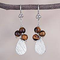 Tiger's eye dangle earrings, 'Glimmering Drops' - Tiger's Eye Drop-Shaped Dangle Earrings form Peru