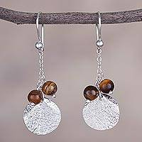 Tiger's eye dangle earrings, 'Harmonious Fruit' - Round Tiger's Eye and Silver Dangle Earrings from Peru