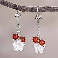 Carnelian dangle earrings, 'Blossom Glimmer' - Carnelian Flower-Shaped Dangle Earrings from Peru