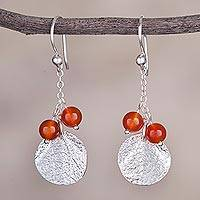 Carnelian dangle earrings, 'Harmonious Fruit' - Round Carnelian and Silver Dangle Earrings from Peru