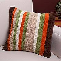 Alpaca blend cushion cover, 'Earth Stripes' - Alpaca Blend Multicolor Stripe Throw Cushion Cover from Peru
