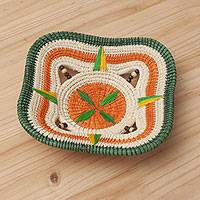 Chambira tree fiber decorative basket, 'Star of Puerto Huaman' - Tri-Color Chambira Fiber Decorative Basket from Peru