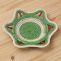 Chambira tree fiber decorative basket, 'Verdant Iquitos' - Natural Fiber Decorative Basket in Green and Beige from Peru