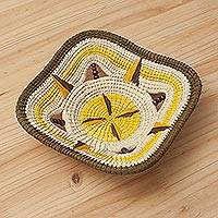 Chambira tree fiber decorative bowl, 'Stellar Puerto Huaman' - Chambira Fiber Decorative Bowl in Yellow and Beige from Peru