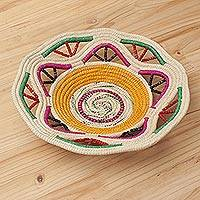 Chambira tree fiber decorative bowl, 'Colorful Earth' - Artisan-Crafted Chambira Fiber Decorative Bowl from Peru