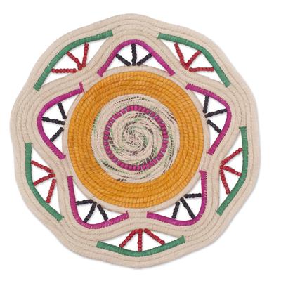 Artisan-Crafted Chambira Fiber Decorative Basket from Peru