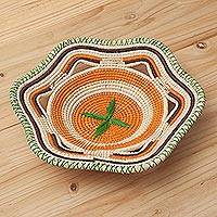 Chambira tree fiber decorative bowl, 'Stellar Energy' - Eco-Friendly Chambira Tree Fiber Decorative Bowl from Peru