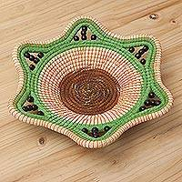 Chambira tree fiber decorative bowl, 'Astral Destiny' - Green and Beige Chambira Fiber Decorative Bowl from Peru