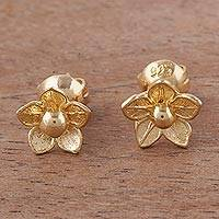 Gold plated sterling silver stud earrings, 'Glistening Petals' - Flower-Shaped 18k Gold Plated Stud Earrings from Peru