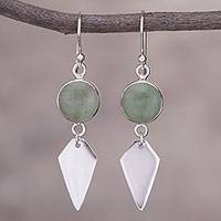 Aventurine dangle earrings, 'Peaceful Day' - Aventurine and Sterling Silver Dangle Earrings from Peru