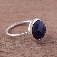 Sodalite single stone ring, 'Magic Pulse' - Sodalite and Sterling Silver Single Stone Ring from Peru